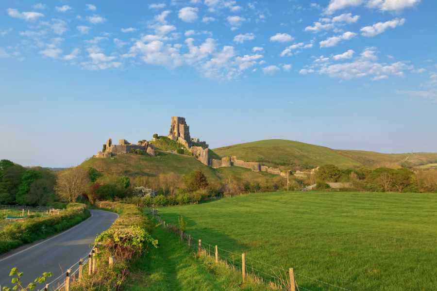Corfe Castle view from the Rings